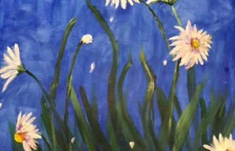 daisies against a night sky painting