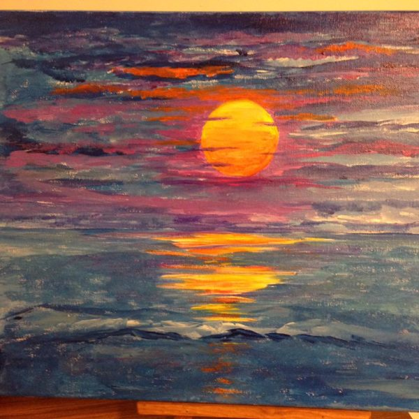 small sunset over water