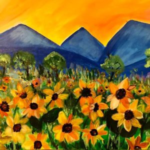 mountains and flower painting
