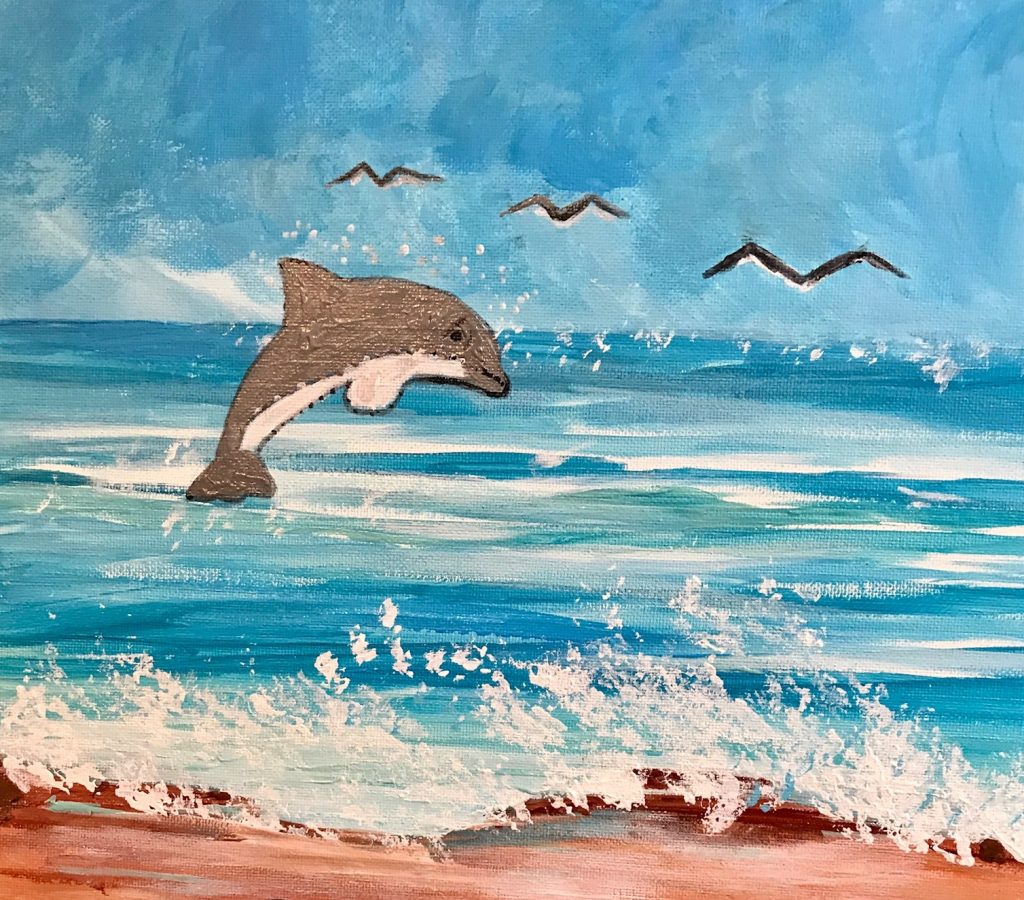 dolphin kids painting party option