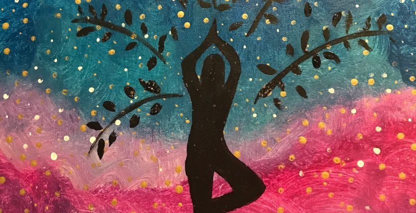 reaching for the stars acrylic painting