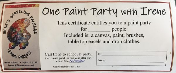 paint party gift card example