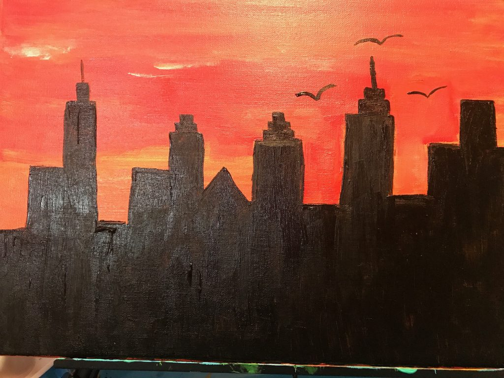city skyline painting party for kids